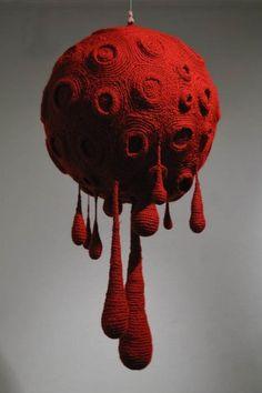Gil Yefman - Blood Moon, knitted yarn, X diameter Textile Sculpture, Textile Fiber Art, Soft Sculpture, Tombow Brush Pen, Textiles, Blood Moon, Yarn Bombing, Crochet Art, Moon Art