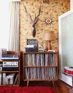 Espacio de música, mueble para vinilos