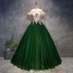 Chic / Beautiful Dark Green Prom Dresses 2018 Ball Gown Appliques Pearl Off Shoulder Backless . - Chic / Beautiful Dark Green Prom Dresses 2018 Ball Gown Appliques Pearl Off-the-Shoulder Backless S - Prom Dresses 2018, Quinceanera Dresses, Ball Dresses, Ball Gowns, Evening Dresses, Dress Prom, Afternoon Dresses, Flapper Dresses, Party Dress