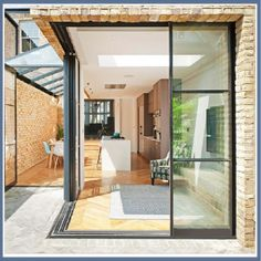 aluminum double clear tinted low-e reflective glass glazing corner sliding glass door price Sliding Door Systems, Sliding Patio Doors, Sliding Glass Door, Pivot Doors, Sliding Windows, House Extension Design, Glass Extension, House Design, Extension Ideas