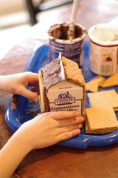 Making a milk carton gingerbread house