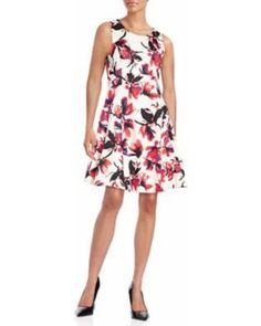 Black Friday Deal on Ivanka Trump Floral Fit-and-Flare Dress Women's Ivory/Strawberry 12