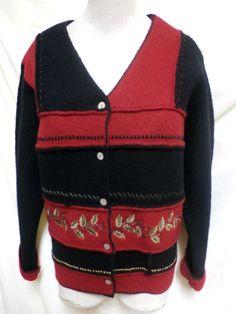 Susan Briston EUC Black & Red Embroidered Christmas Wool Cardigan Sweater XL #SusanBristol #Cardigan #Christmas