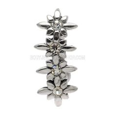 Buy now at www.bodyjewelleryshop.com - Silver & Steel Reverse Belly Bar - Jewelled Flowers. We have the largest variety of bananabells you'll find! #bananabell #piercings #bodyjewellery @piercedfashion