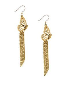 Lucky Brand Turquoise Natives Butterfly Charm Earrings Women's Gold