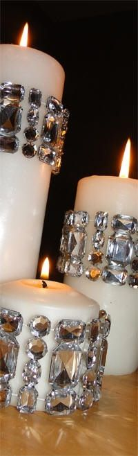 Candles with diamond gems on Side