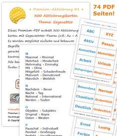 300 Aktivierungskarten zum Thema Gegensatz als Premium Version zum Einführungspreis bis zum 31.10.16
