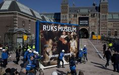 After more than nine years The Night Watch returned to his own room in the Rijksmuseum in Amsterdam. In a well prepared operation, under tight security, the world famous 4.5 meters wide painting by Rembrandt was moved from the Philips Wing to the main building. The renovated Rijksmuseum will reopen in April this year. #night #watch #rembrandt