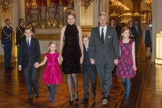 King Philippe, Queen Mathilde and the kids attend the annual Christmas Concert at the Royal Palace in Brussels. 17/12/2014