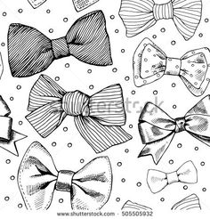 Seamless pattern with image of a tie and bow on a polka dot background. Vector black and white illustration.