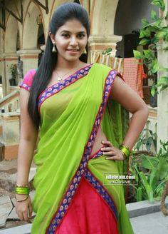 "Anjali half saree stills from ""Madha gaja Raja"" tamil movie - half saree, saree Beautiful Bollywood Actress, Most Beautiful Indian Actress, Beautiful Saree, Beautiful Bride, Beautiful Roses, Beauty Full Girl, Beauty Women, Actress Priya, Tamil Actress"