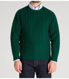 Green Brushed Shetland Cable Knit Lambswool Crew Neck Jumper