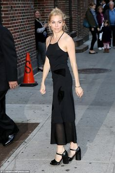 Classic black: Actress Sienna Miller arrives at the Ed Sullivan Theater for The Late Show With Stephen Colbert on Monday