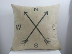 "Decorbox Retro Cotton Linen Square Vintage Throw Pillow Case Shell Decorative Cushion Cover Pillowcase Compass 18 ""X18 """