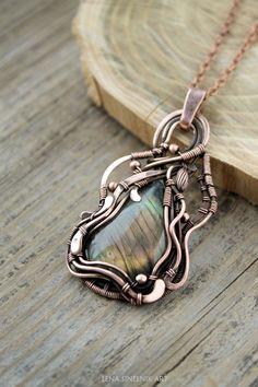 Labradorite pendant Wirewrap necklace by LenaSinelnikArt on Etsy