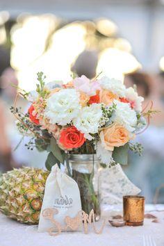 Destination wedding Mint coral Flowers Marie & Stephen on Borrowed & Blue.  Photo Credit: Modern Twist Photography