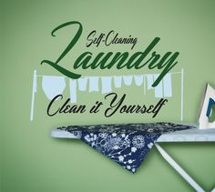 Laundry Room Decal Laundry Room Decor Self Cleaning by SignJunkies Laundry Room Decals, Vinyl Wall Decals, Custom Vinyl Lettering, Finding Yourself, Room Decor, Cleaning, Unique Jewelry, Handmade Gifts, Notes