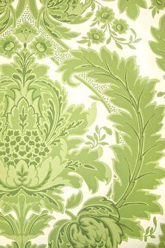 Coleridge Damask Wallpaper An elegant Damask wallpaper in fresh greens and white.