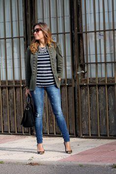 stripes, olive jacket, jeans