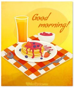 Buy Breakfast Design Concept With Good Morning Wishing by macrovector on GraphicRiver. Breakfast design concept with glass of orange juice plate of pancakes and good morning wishing vector illustration . Gud Morning Images, Good Morning Funny, Good Morning Messages, Good Morning Greetings, Good Morning Good Night, Good Morning Wishes, Good Morning Quotes, Morning Gif, Good Morning Breakfast