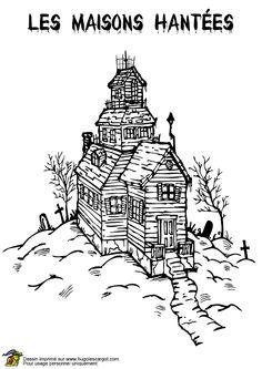 A colorier, un vieux manoir situé sur la colline.