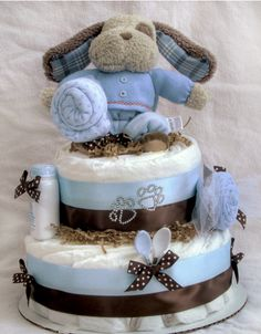 Very cute baby boy puppy diaper cake for shower idea