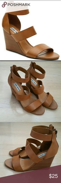 Steve Madden Leather Wedge Sandal This is a strappy cognac-colored wedge sandal that can easily be a staple in your summer wardrobe. Pairs perfectly with dresses, skirts and jeans. They are practically new, only worn 2-3x. In great condition. Steve Madden Shoes Wedges