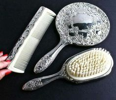 Vintage brush, comb, and mirror