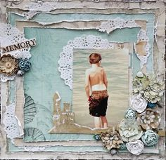 Memory - Scrapbook.com - Distress the edges of various patterned papers - it lends a very beachy feel!