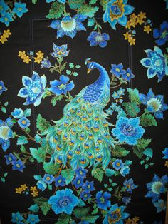 Love Peacocks: Peacock Quilted Wall Art in Timeless Treasure Plume Fabric