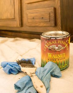 bathroom decor Restaining Bathroom Cabinets with Water Based Wood Stain Restaining Kitchen Cabinets, Wooden Bathroom Cabinets, Stained Kitchen Cabinets, Bathroom Furniture, Wood Furniture, How To Restain Cabinets, Furniture Refinishing, Painting Furniture, Woodworking Furniture