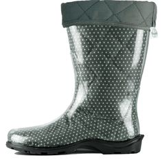 TwoAlity's Grey Polka-dot boot liner with Steel binding!!! Order yours today at www.thetwoalitystore.com #ClearBoots #InterchangeableLiners #MadeintheUSA