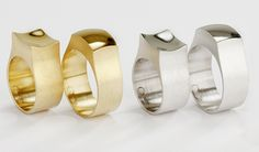 R 202 RINGS FOR COUPLES 750 YELLOW OR WHITE GOLD OR SILVER. BY REMBRANDT JORDAN (BE).
