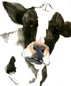 Cow Head portrait, 10 x 8 in original watercolor painting by ORIGINALONLY on Etsy