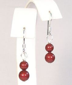 Marsala Pearl drop earrings, bridesmaids, burgundy, bordeaux, cranberry, apple, merlot, cherry, claret, tomato
