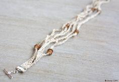 Bracelet de tricotin tressé en lin naturel par LaMauvaiseGraine