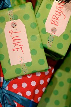 Use tape to attach gift tags! Love! Photo Rachel Shingleton.
