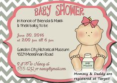 Baby shower invitationpink and gray chevron baby by OldOwlPress