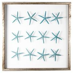 Sea Star Framed Wall Art in Teal