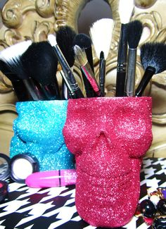 Glitter Skull Makeup brush holder, custom colours available:    http://www.etsy.com/listing/87027257/wicked-moxie-custom-color-glitter-skull?ref=sr_gallery_39=_search_submit=_search_query=glitter_order=most_relevant_ship_to=US_view_type=gallery_page=4_search_type=handmade_facet=handmade
