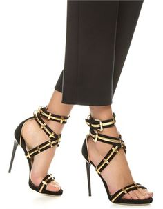 Paul Andrew-Black Gold Strappy Katerini Heels
