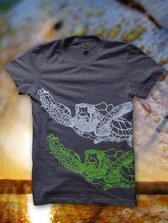 Mens Sea Turtle Tshirt, Forest and Fin, Screenprint Shirt, Sea Animal, Surfer Graphic Tee Shirt - Asphalt via Etsy