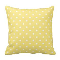 Yellow and White Polka Dots square toss pillow