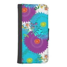 Summer Flowers and Butterflies Teal and Purple Mix iPhone 5 Wallet