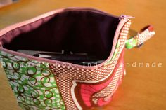 Handmade make-up bag with African fabric by Pandora's Box: Indie handmade.