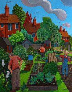 """""""Allotment Feva""""..Oil painting by Chris Cyprus: Art Gardens, Chris"""