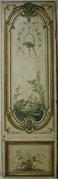(via g r e e n / Manner of Jean-Baptiste Oudry, Door Panel) Grisaille is so often best for vignettes. Chinoiserie, Grisaille, Hand Painted Furniture, Painted Doors, Wooden Doors, French Decor, Of Wallpaper, Painting, Art Decor