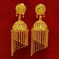 New Gold Plated Ethnic Bollywood Gold Plated Chandelier Earrings Women Jewelry Silver Jhumkas, Gold Jhumka Earrings, Gold Earrings Designs, Chandelier Earrings, Sterling Silver Earrings, Jhumka Designs, Gold Designs, Indian Earrings, Jewellery Designs