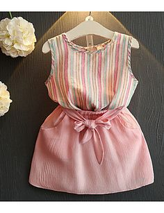 Cheap children set, Buy Quality girls clothing sets directly from China clothing sets Suppliers: Belbello Girls Clothing Sets Summer Short Sleeve T-Shirt Girl Skirt Kid Clothes Girl Striped Skirt Fashion Casual Children Sets Kids Dress Wear, Little Girl Outfits, Little Girl Dresses, Toddler Outfits, Kids Outfits, Dresses For Kids, Baby Girl Fashion, Toddler Fashion, Kids Fashion