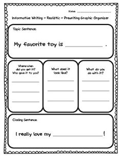 Graphic organizer for helping students write a paragraph. -->1st grade appropriate